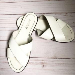 J. Crew Cyprus Criss Cross White Leather Sandals